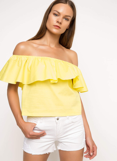 DeFacto Fırfırlı Bluz Sarı